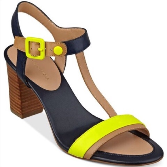 908175d44902ba Tommy Hilfiger Pipelime Color Block Heel Sandals. M 5b58af79409c155a10dd9c47